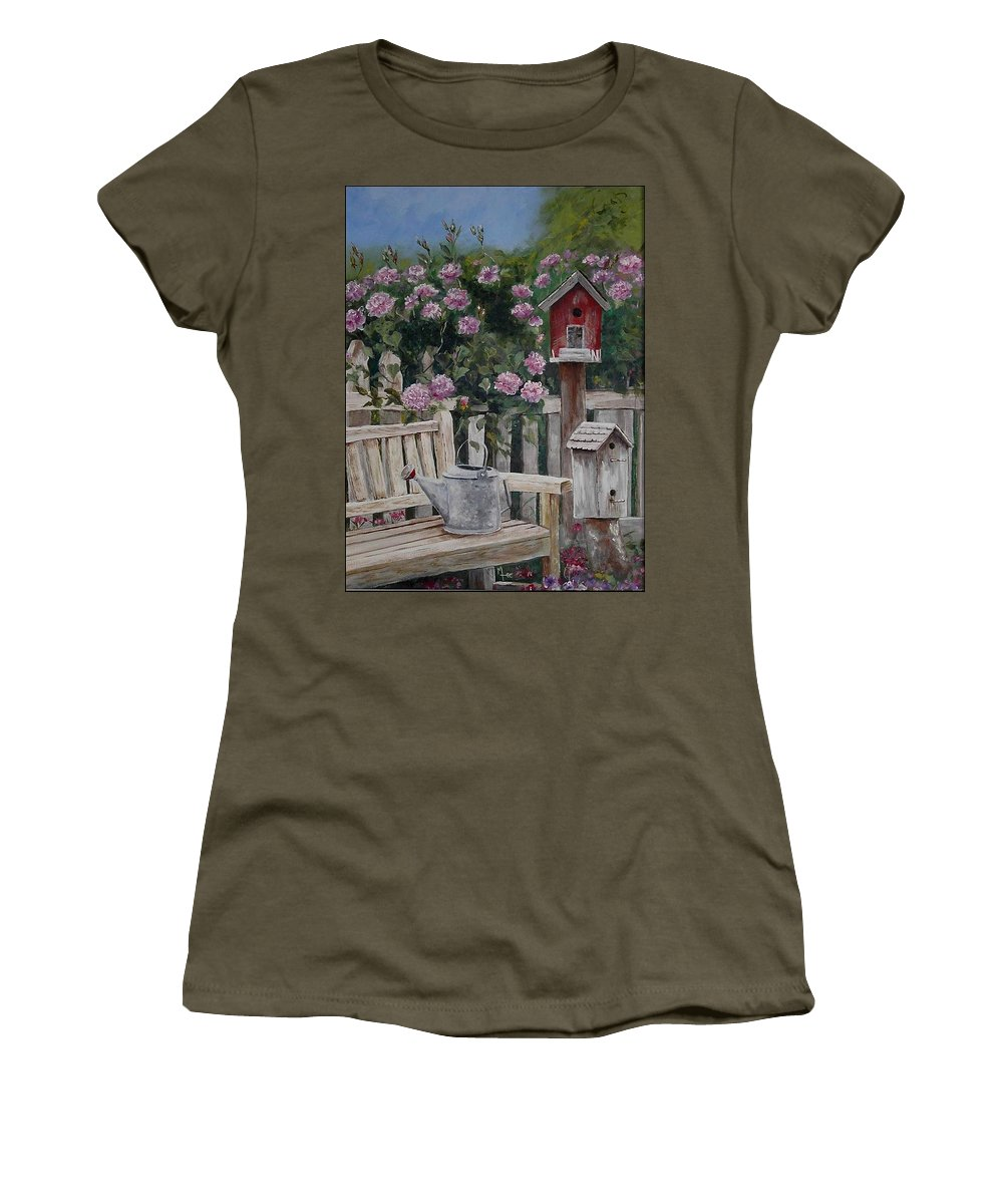 Charity Women's T-Shirt (Athletic Fit) featuring the painting Take A Seat by Mary-Lee Sanders