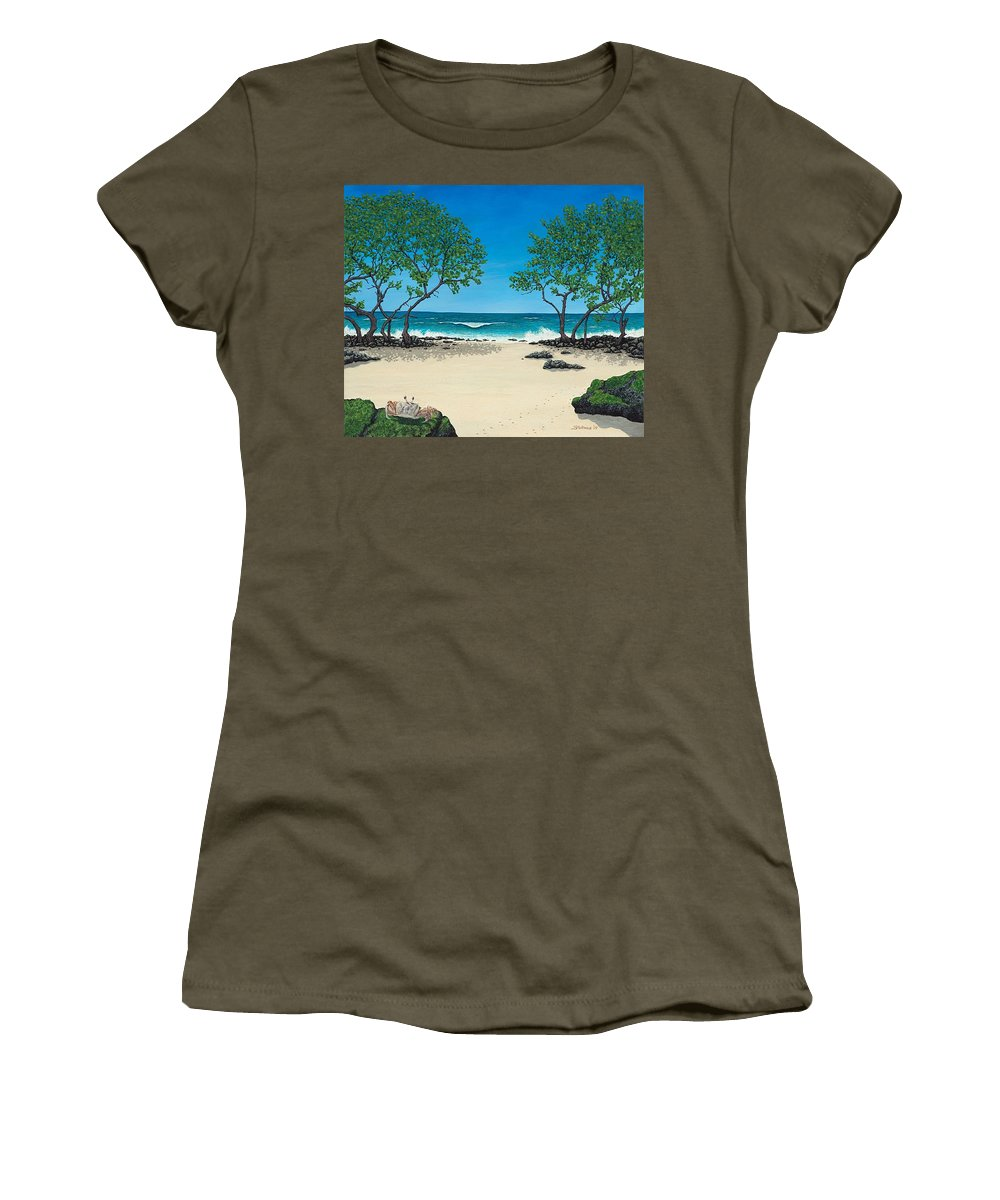 Ocean Women's T-Shirt (Athletic Fit) featuring the painting Where Is My Corona by Shawn Stallings
