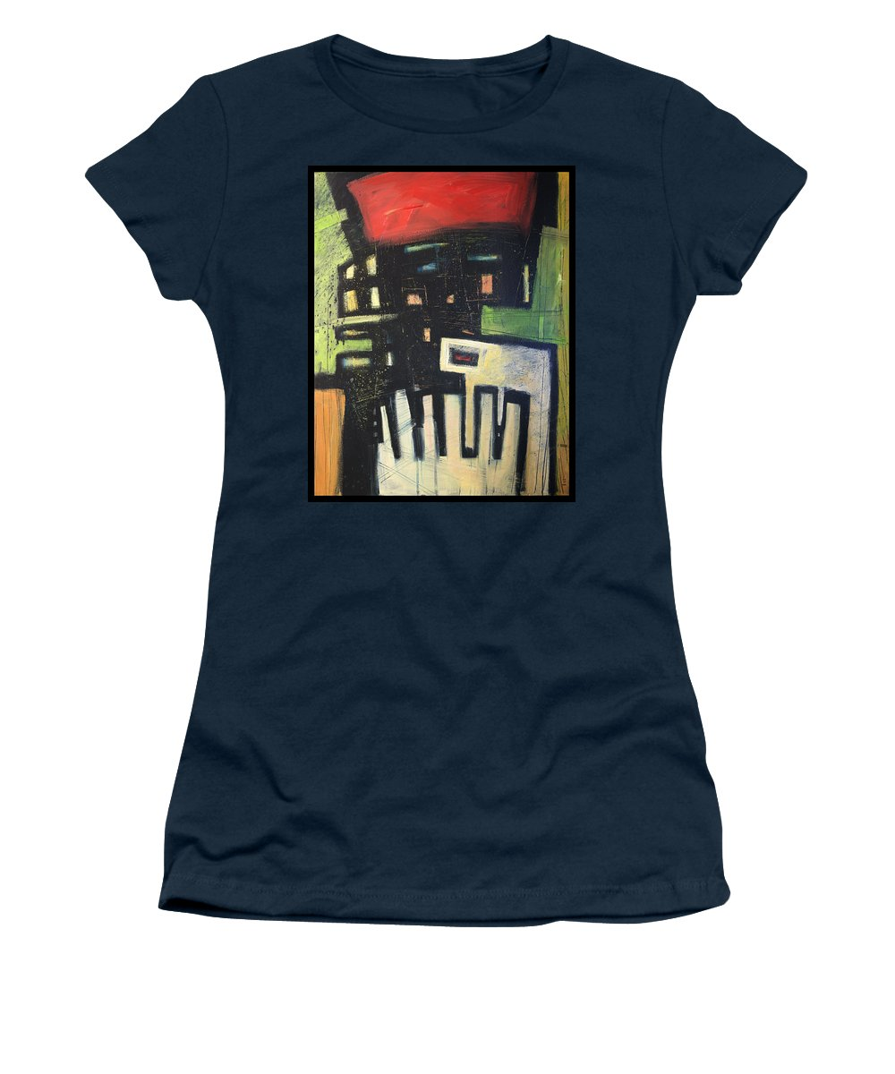 Abstract Women's T-Shirt (Athletic Fit) featuring the painting D Flat by Tim Nyberg