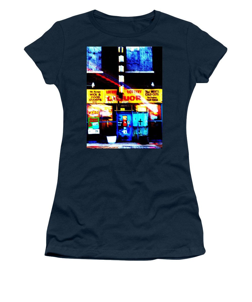 Store Women's T-Shirt (Athletic Fit) featuring the photograph Corner Store by Albert Stewart