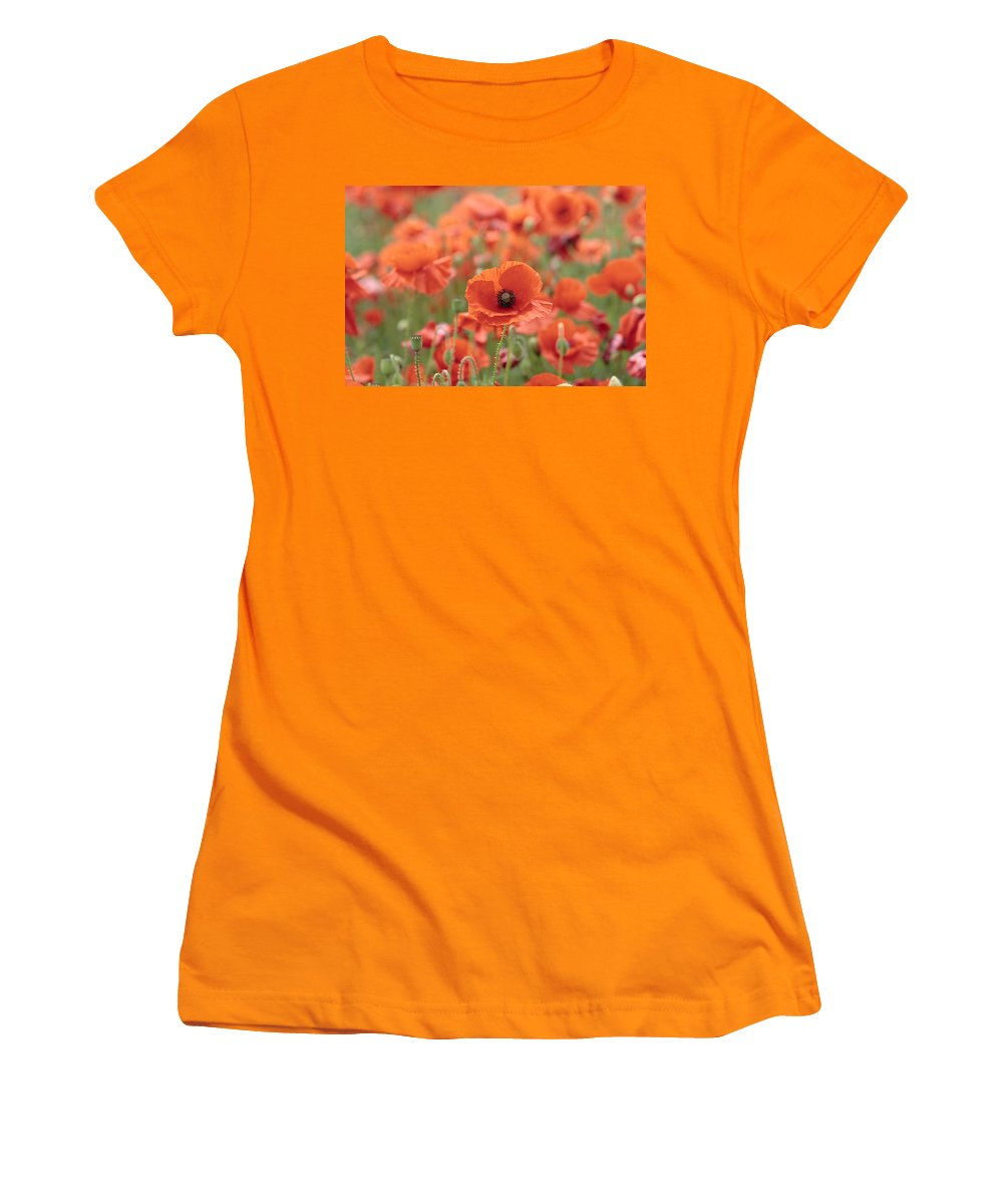 Poppy Women's T-Shirt (Athletic Fit) featuring the photograph Poppies H by Phil Crean