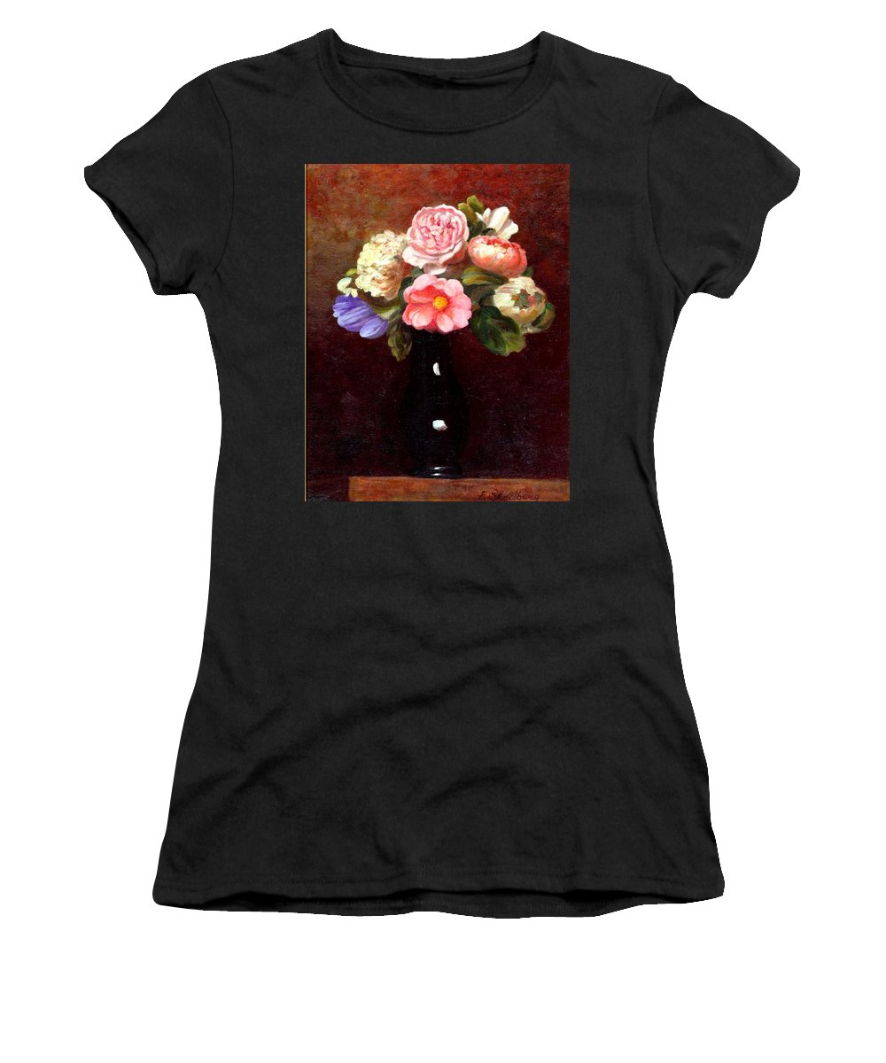Still Life Women's T-Shirt (Athletic Fit) featuring the painting Red Roses In A Black Vase by Edward Skallberg