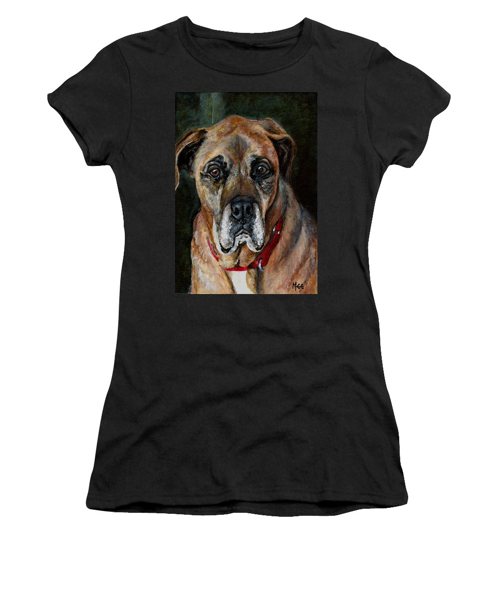Boxer Women's T-Shirt (Athletic Fit) featuring the painting Boo For Dogtown by Mary-Lee Sanders