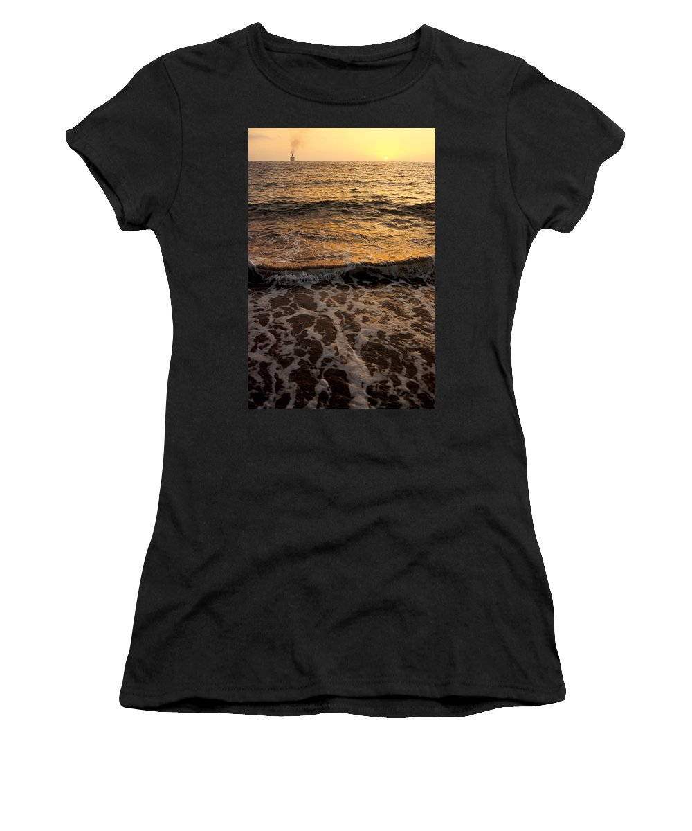 Cruise Women's T-Shirt (Athletic Fit) featuring the photograph Cruise Ship Off The Beach by Jerry McElroy
