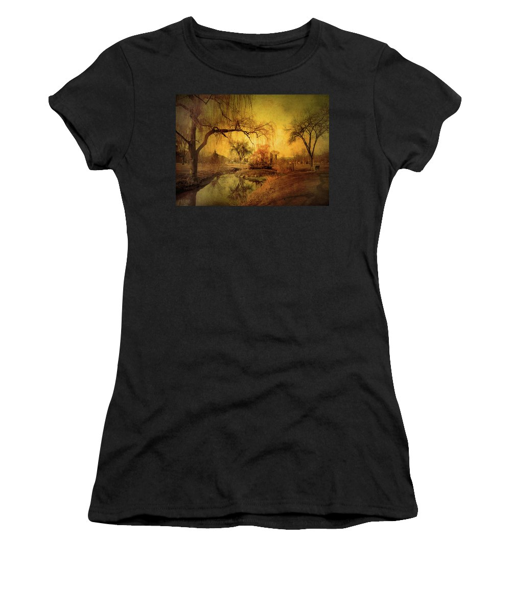 Skaha Park Women's T-Shirt (Athletic Fit) featuring the photograph Golden Winter Days by Tara Turner