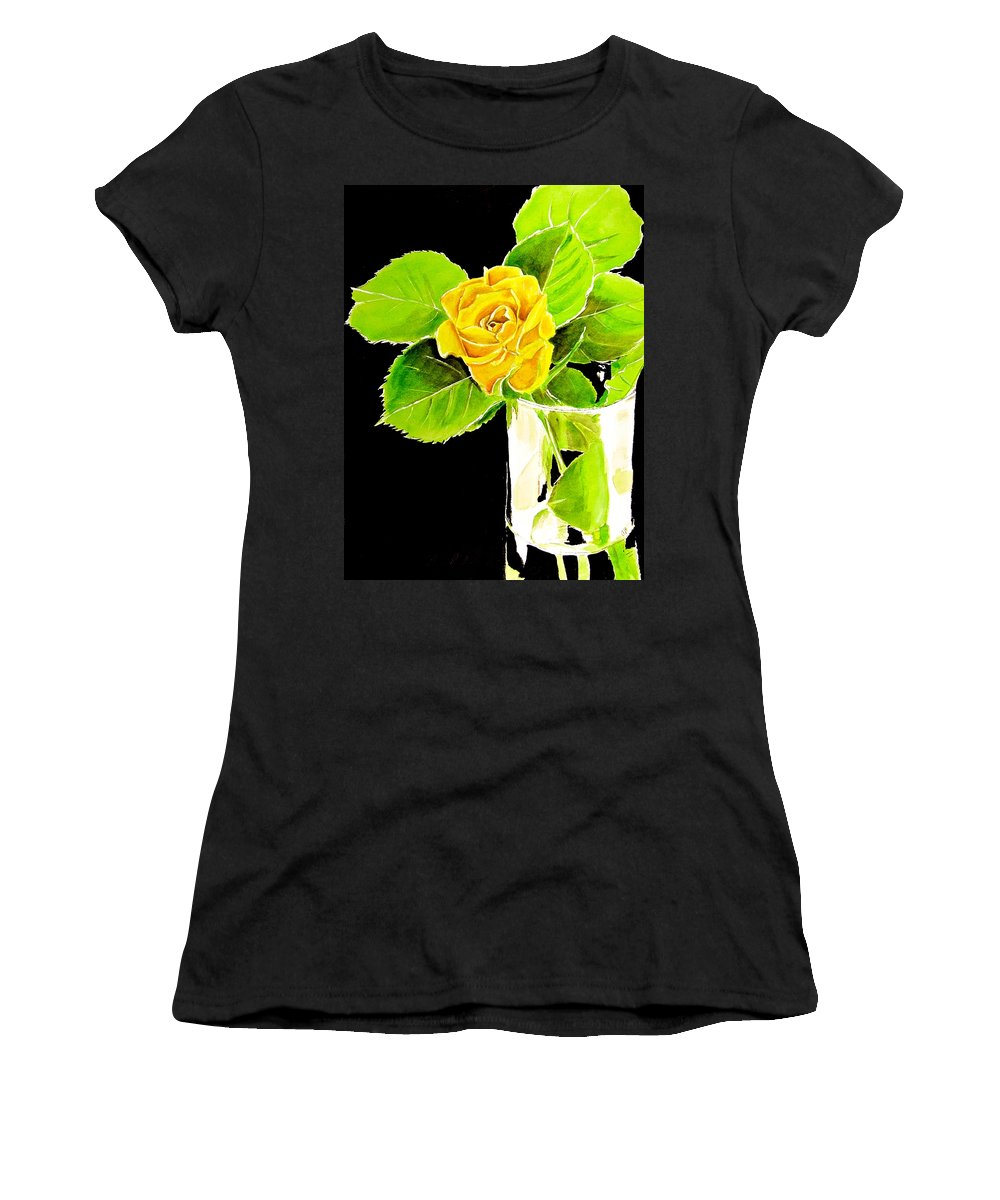 Yellow Rose Women's T-Shirt featuring the painting Rose In Vase by Carol Blackhurst