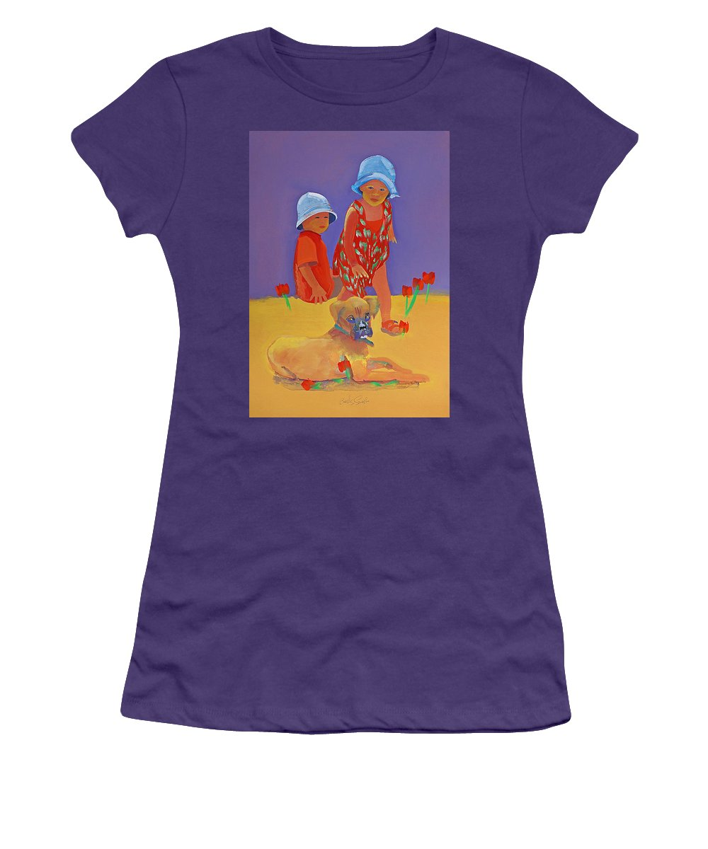 Boxer Dog Women's T-Shirt (Athletic Fit) featuring the painting The Boxer Puppy by Charles Stuart