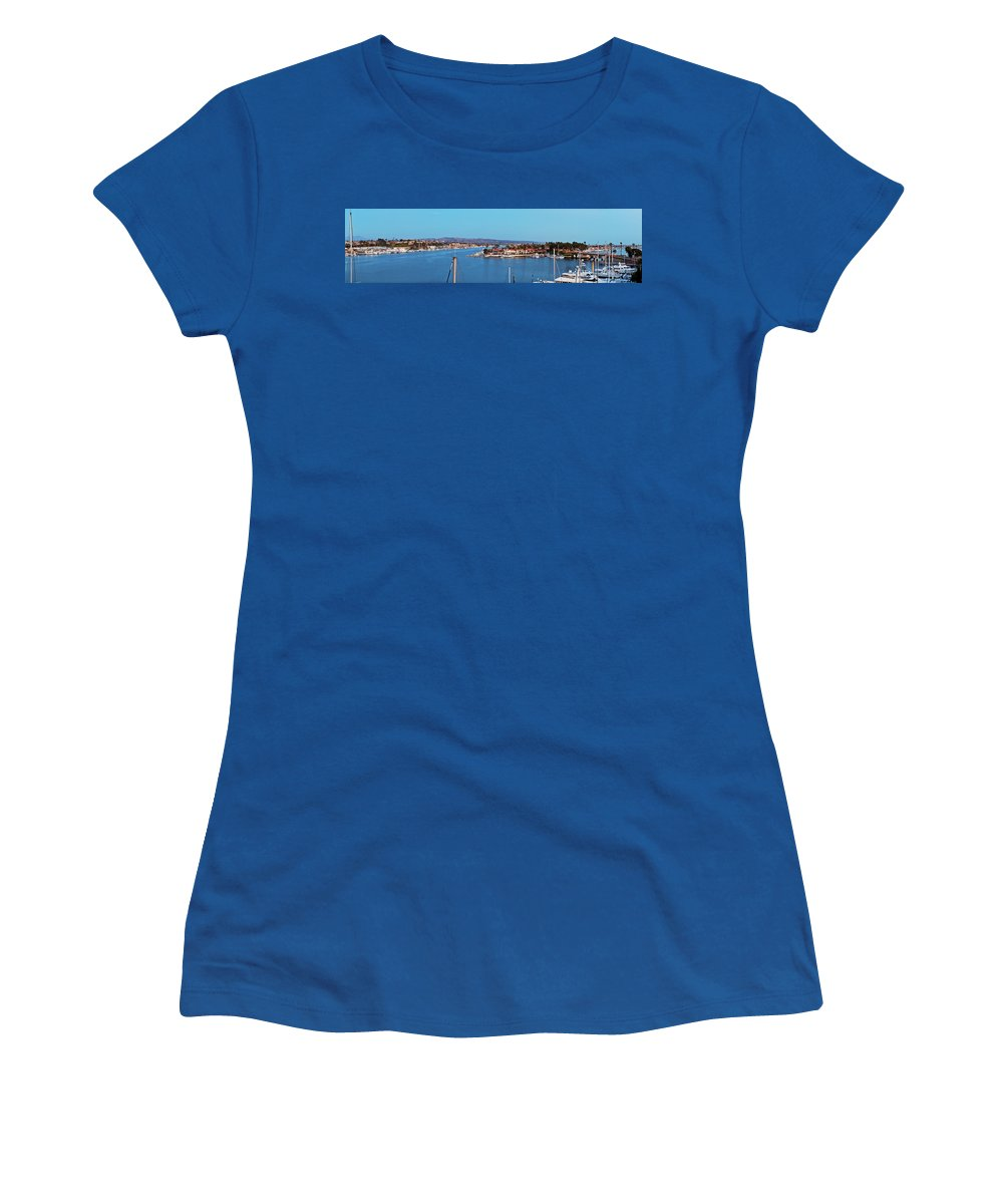 Newport Beach Women's T-Shirt (Athletic Fit) featuring the photograph Newport Beach Harbor At Dusk by Kelley King