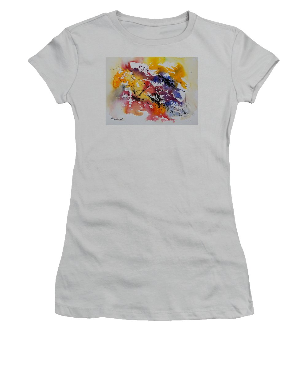 Abstract Women's T-Shirt (Athletic Fit) featuring the painting Watercolor 902022 by Pol Ledent