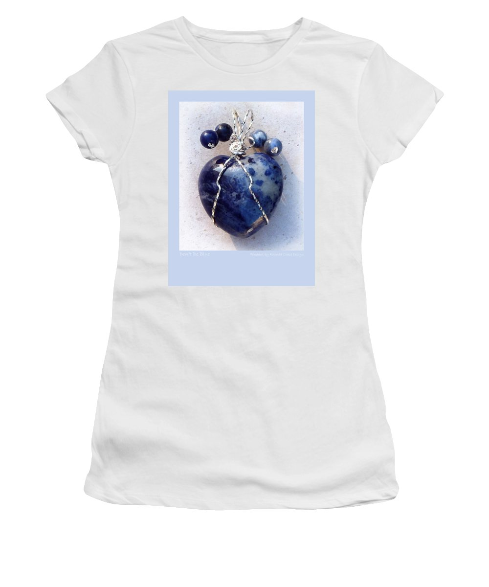 Pendant Women's T-Shirt (Athletic Fit) featuring the mixed media Don't Be Blue by Rhonda Chase