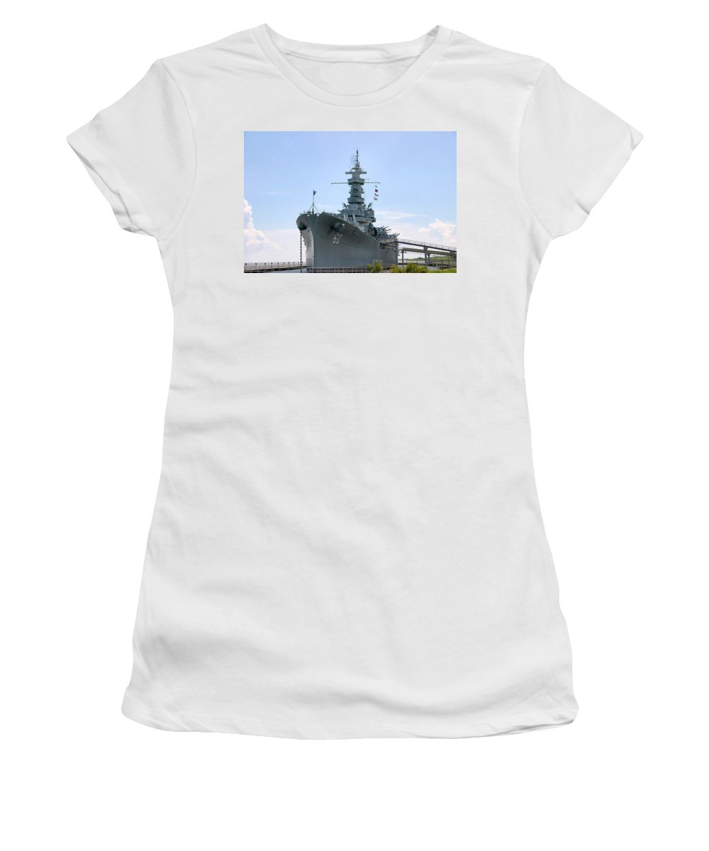 Warship Women's T-Shirt (Athletic Fit) featuring the photograph Uss Alabama by Kristin Elmquist