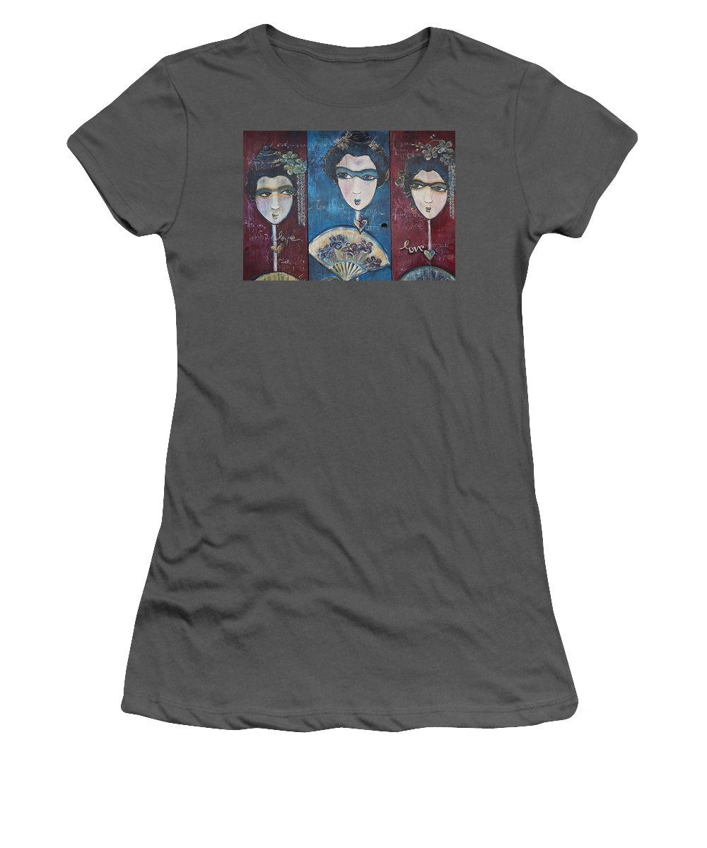 Geisha Women's T-Shirt (Athletic Fit) featuring the painting Geisha Love Triptych by Laurie Maves ART