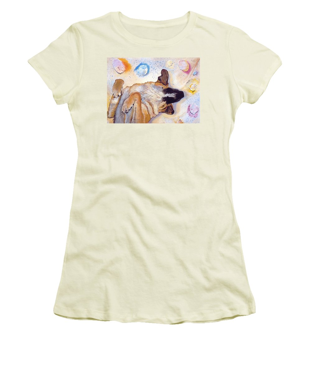 Sleeping Dog Women's T-Shirt (Athletic Fit) featuring the painting Dog Dreams by Pat Saunders-White