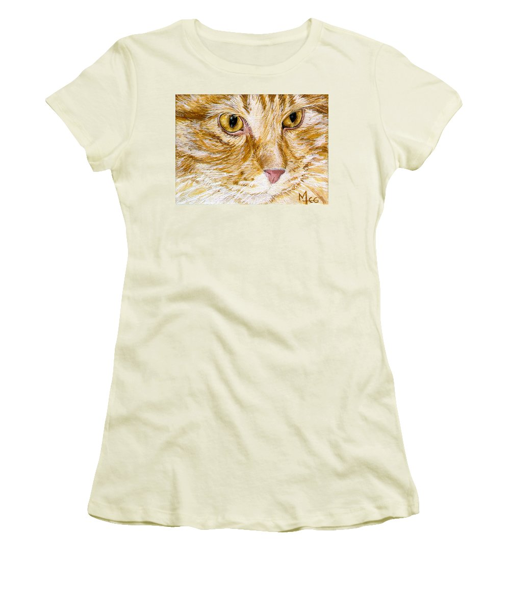 Charity Women's T-Shirt (Athletic Fit) featuring the painting Leo by Mary-Lee Sanders