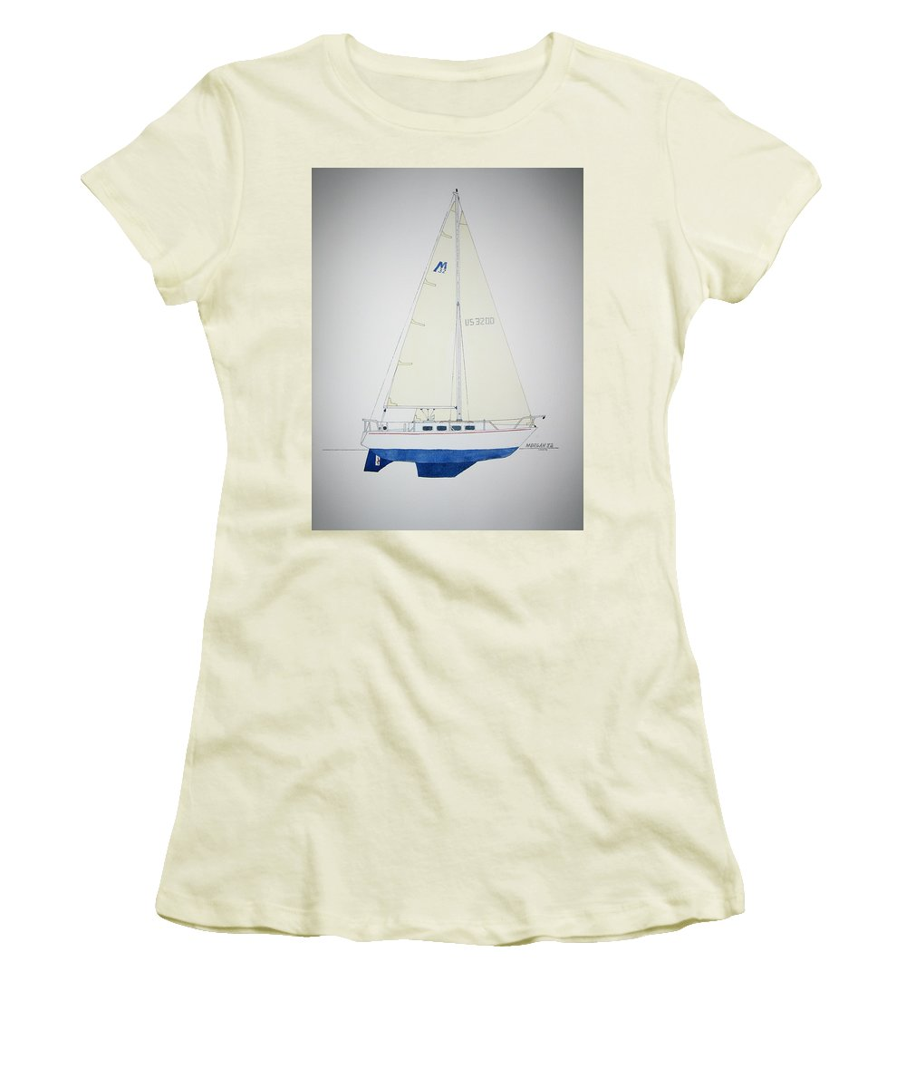 Sail Sailboat Ocean Sea Morgan Boat Nautical Yacht Women's T-Shirt (Athletic Fit) featuring the painting Morgan 32 by Jeff Lucas