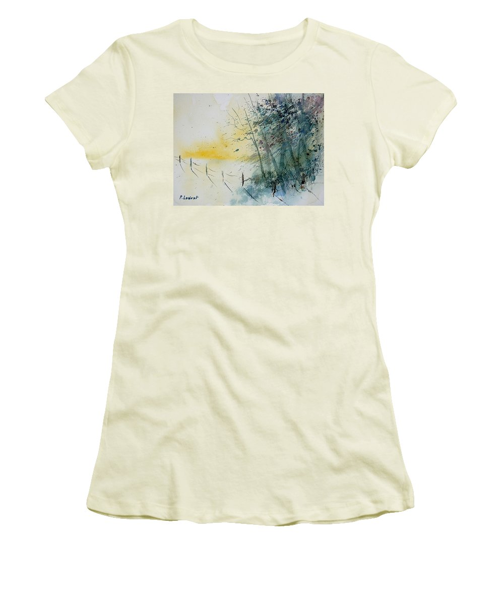 Winter Women's T-Shirt (Athletic Fit) featuring the painting Watercolor 080708 by Pol Ledent