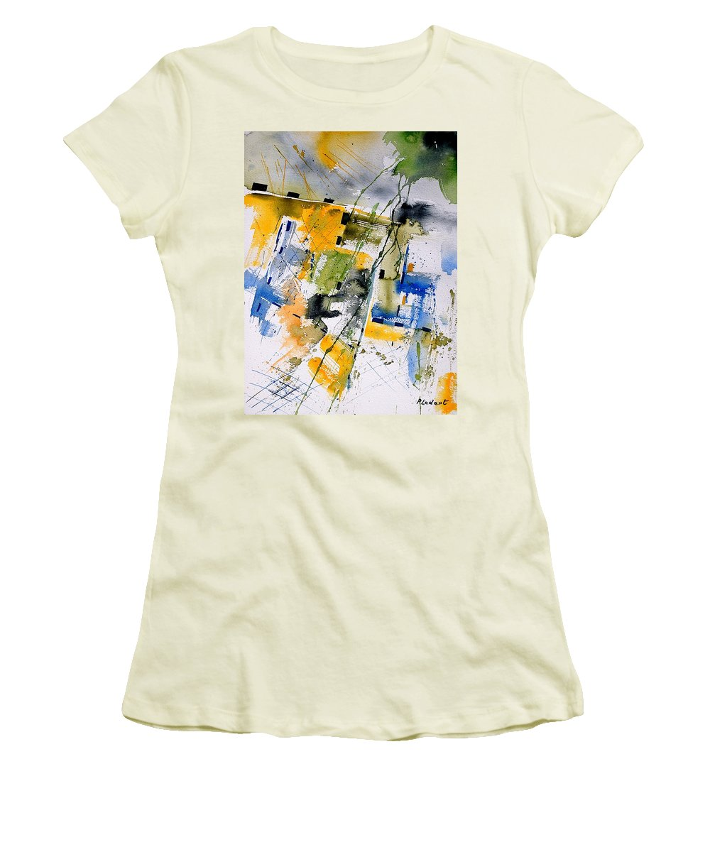 Abstract Women's T-Shirt (Athletic Fit) featuring the painting Watercolor 161106 by Pol Ledent