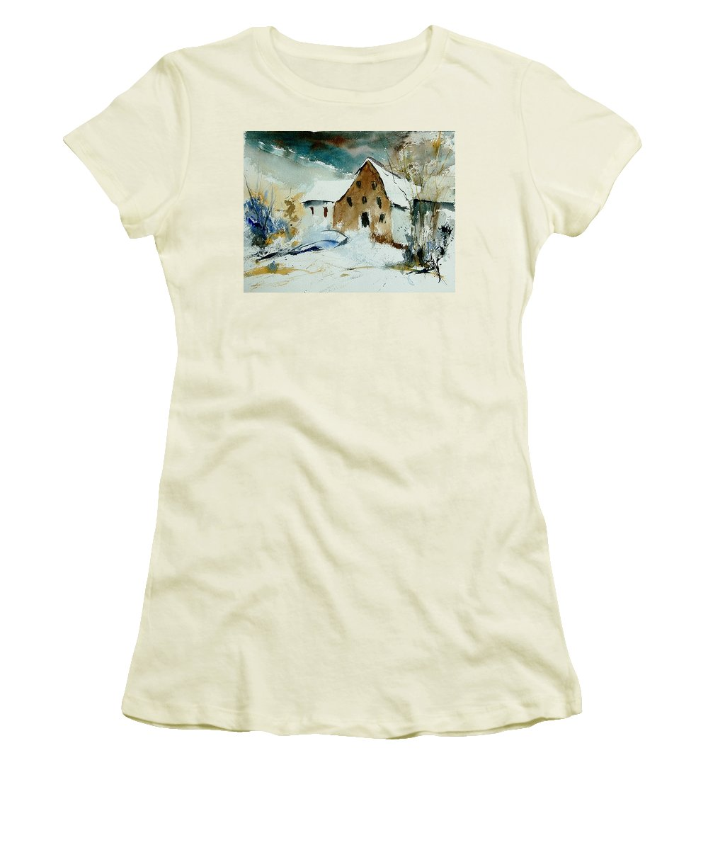 Winter Women's T-Shirt (Athletic Fit) featuring the painting Watercolor 9696 by Pol Ledent