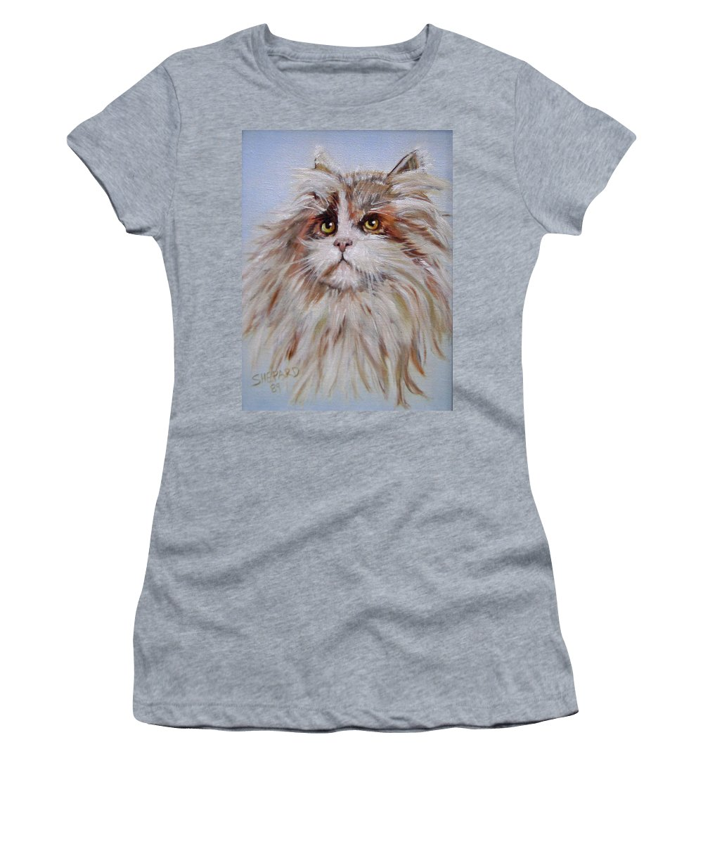 Cat Women's T-Shirt (Athletic Fit) featuring the painting Cat Of Many Colors by Cathy Shepard