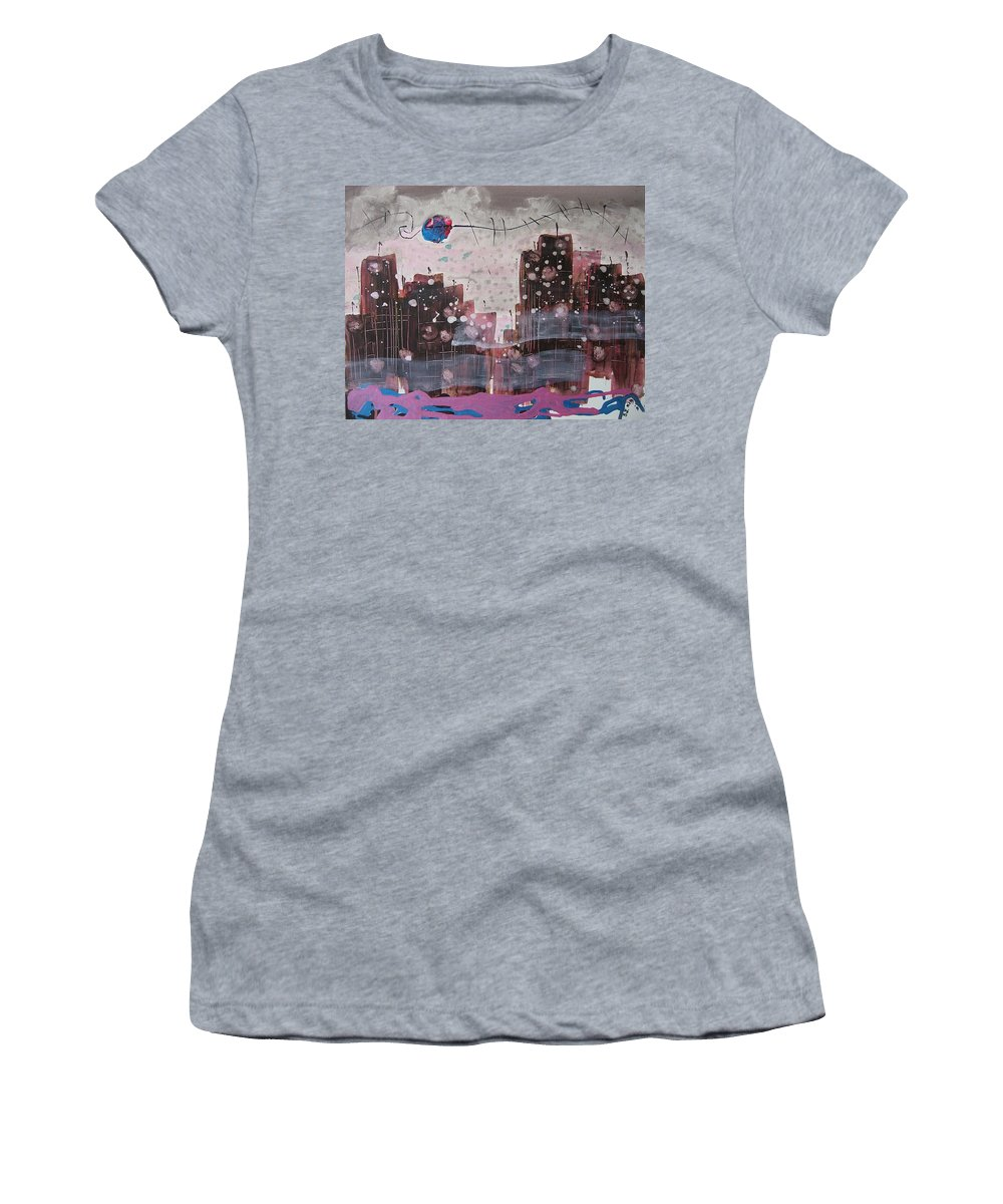 Brown Paintings Women's T-Shirt (Athletic Fit) featuring the painting Cityscape by Seon-Jeong Kim