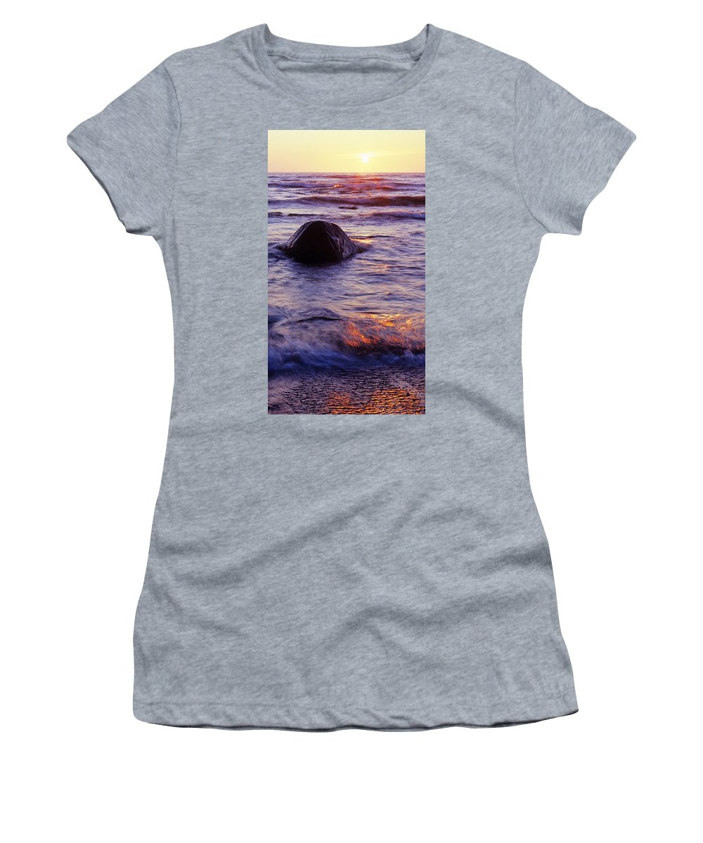 Abstract Women's T-Shirt (Athletic Fit) featuring the photograph Sunset Lights by Konstantin Dikovsky