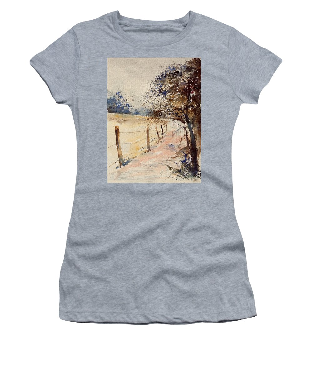 Tree Women's T-Shirt (Athletic Fit) featuring the painting Watercolor 041106 by Pol Ledent