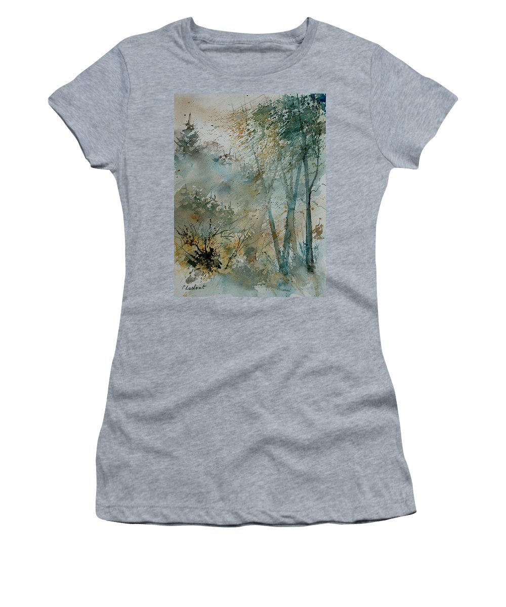 Tree Women's T-Shirt (Athletic Fit) featuring the painting Watercolor 051008 by Pol Ledent