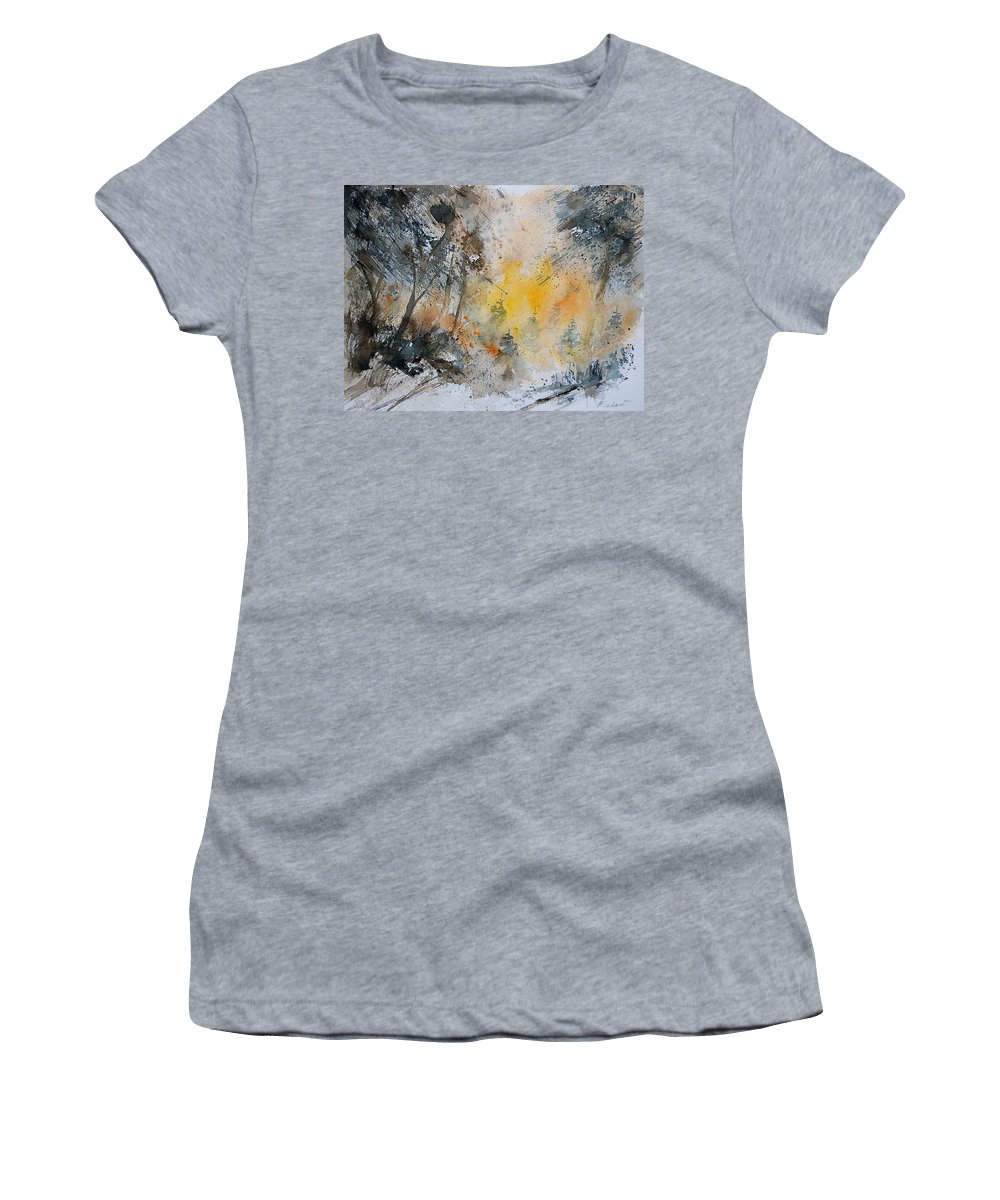Tree Women's T-Shirt (Athletic Fit) featuring the painting Watercolor 131206 by Pol Ledent