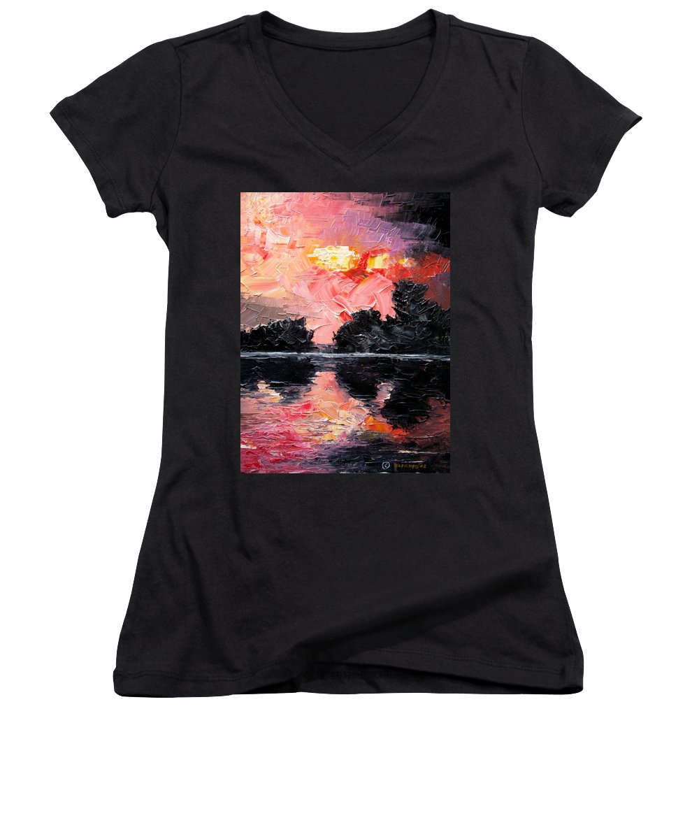 Lake After Storm Women's V-Neck T-Shirt featuring the painting Sunset. After Storm. by Sergey Bezhinets