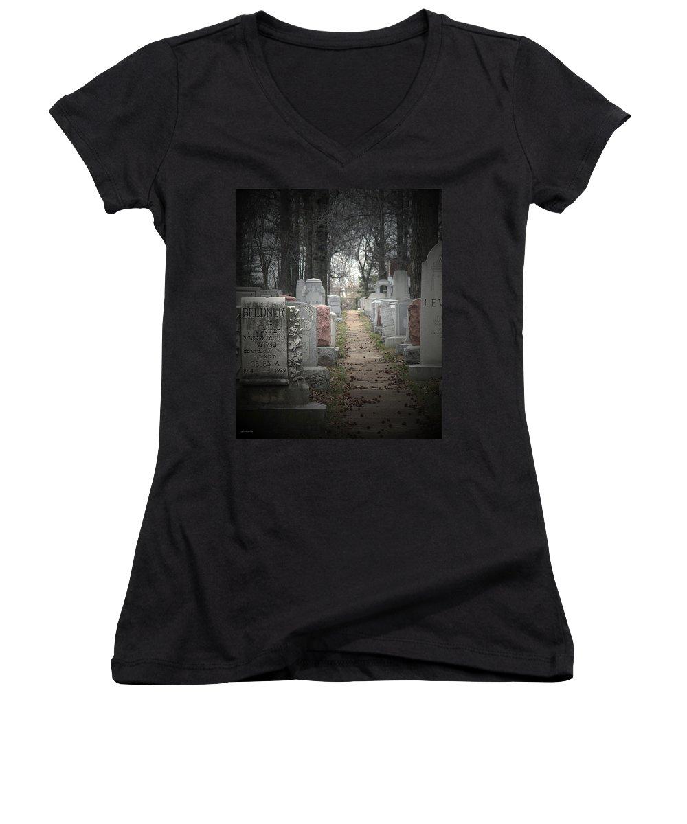 Cemetary Women's V-Neck T-Shirt featuring the photograph Closure by Albert Stewart