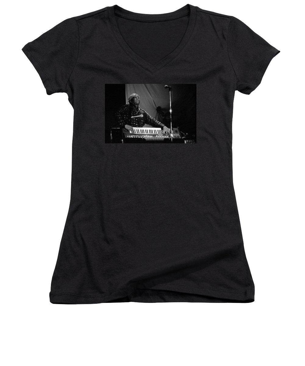 Sun Ra Women's V-Neck T-Shirt featuring the photograph Sun Ra 1 by Lee Santa