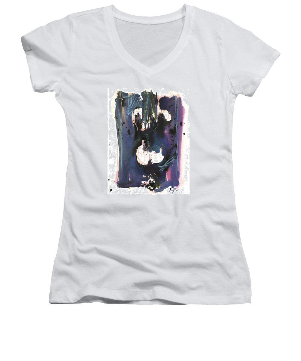 Figure Women's V-Neck T-Shirt featuring the painting Kneeling by Robert Joyner