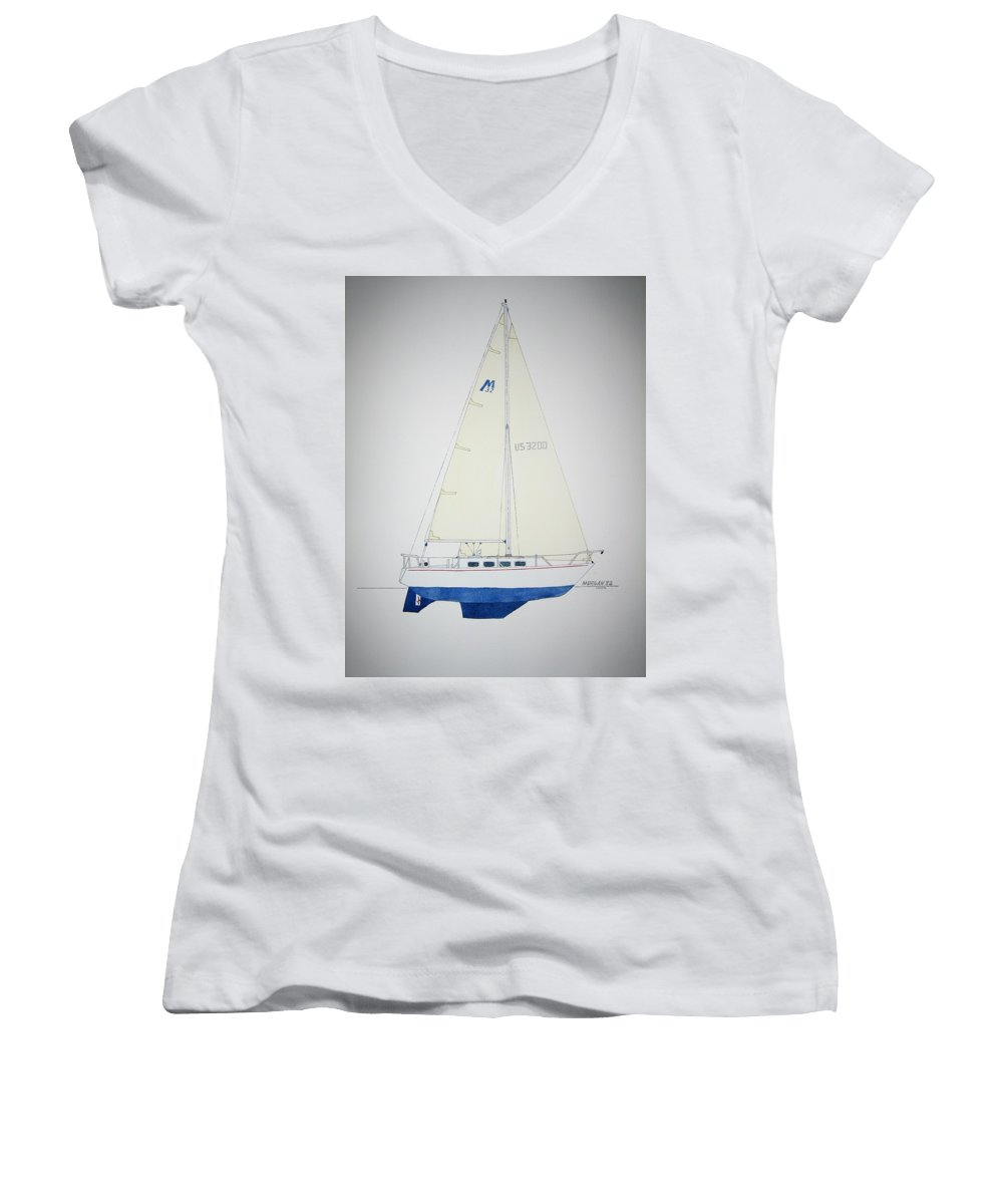 Sail Sailboat Ocean Sea Morgan Boat Nautical Yacht Women's V-Neck T-Shirt featuring the painting Morgan 32 by Jeff Lucas