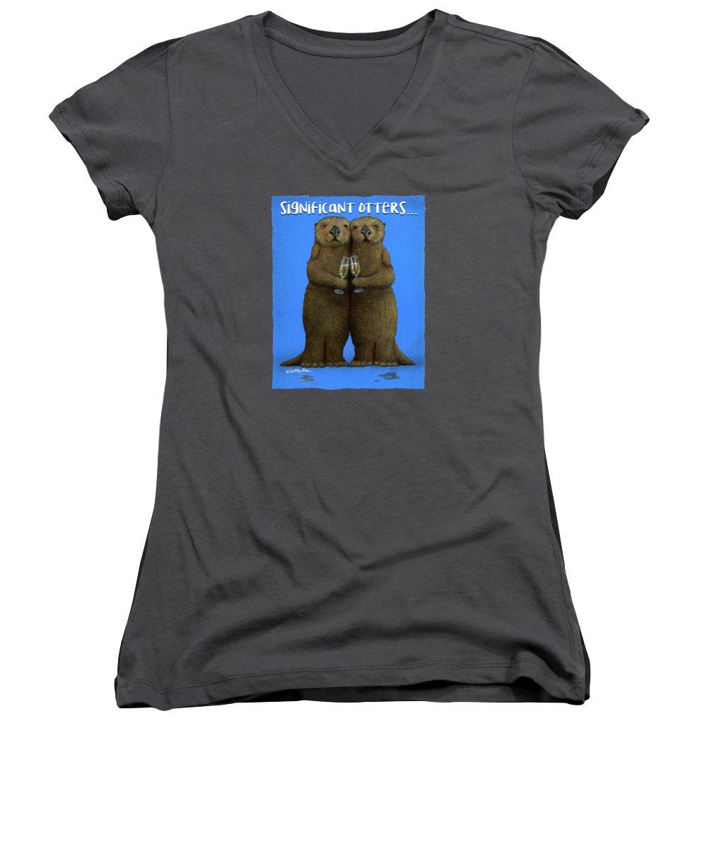 Otter Women's V-Neck T-Shirts