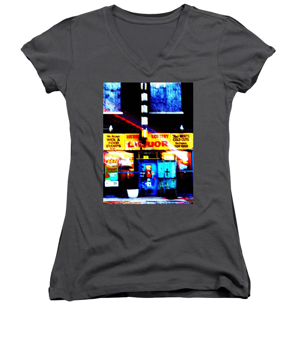 Store Women's V-Neck (Athletic Fit) featuring the photograph Corner Store by Albert Stewart