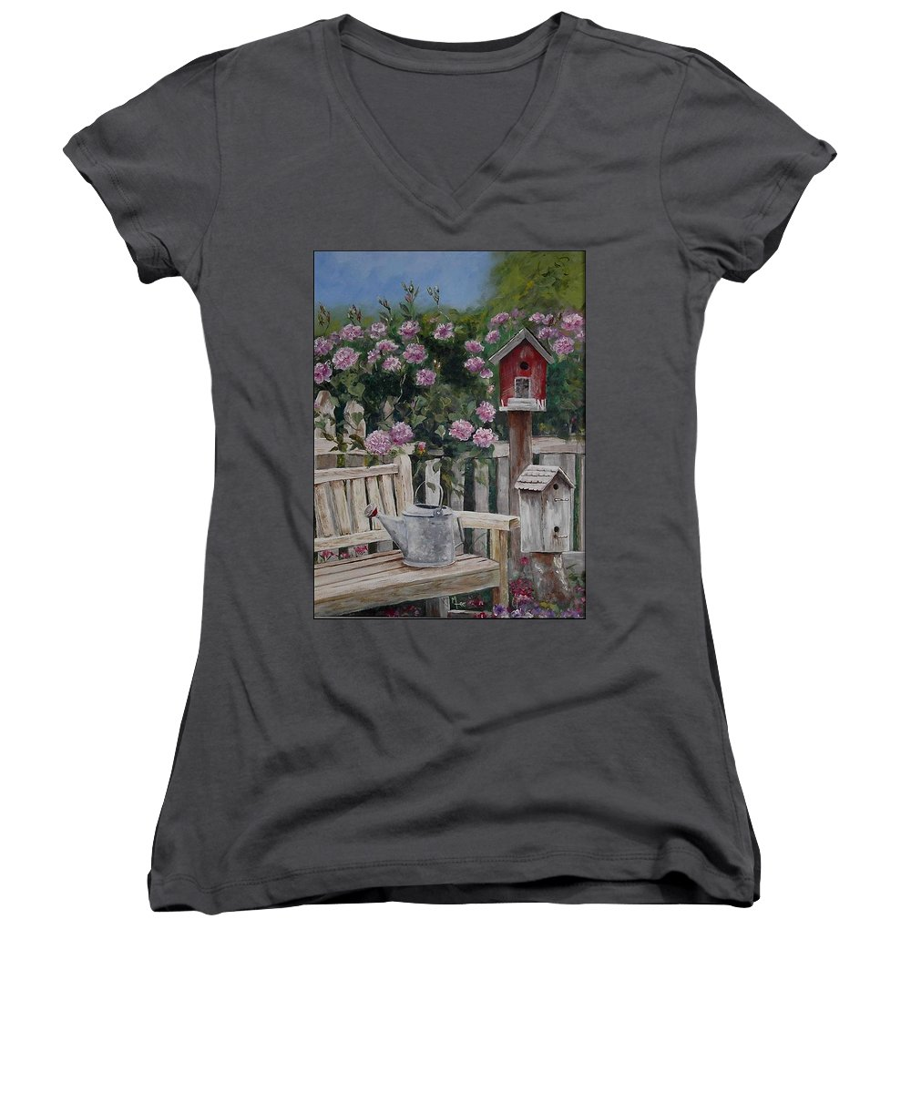 Charity Women's V-Neck T-Shirt featuring the painting Take A Seat by Mary-Lee Sanders