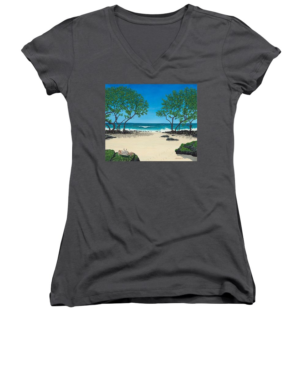 Ocean Women's V-Neck T-Shirt featuring the painting Where Is My Corona by Shawn Stallings
