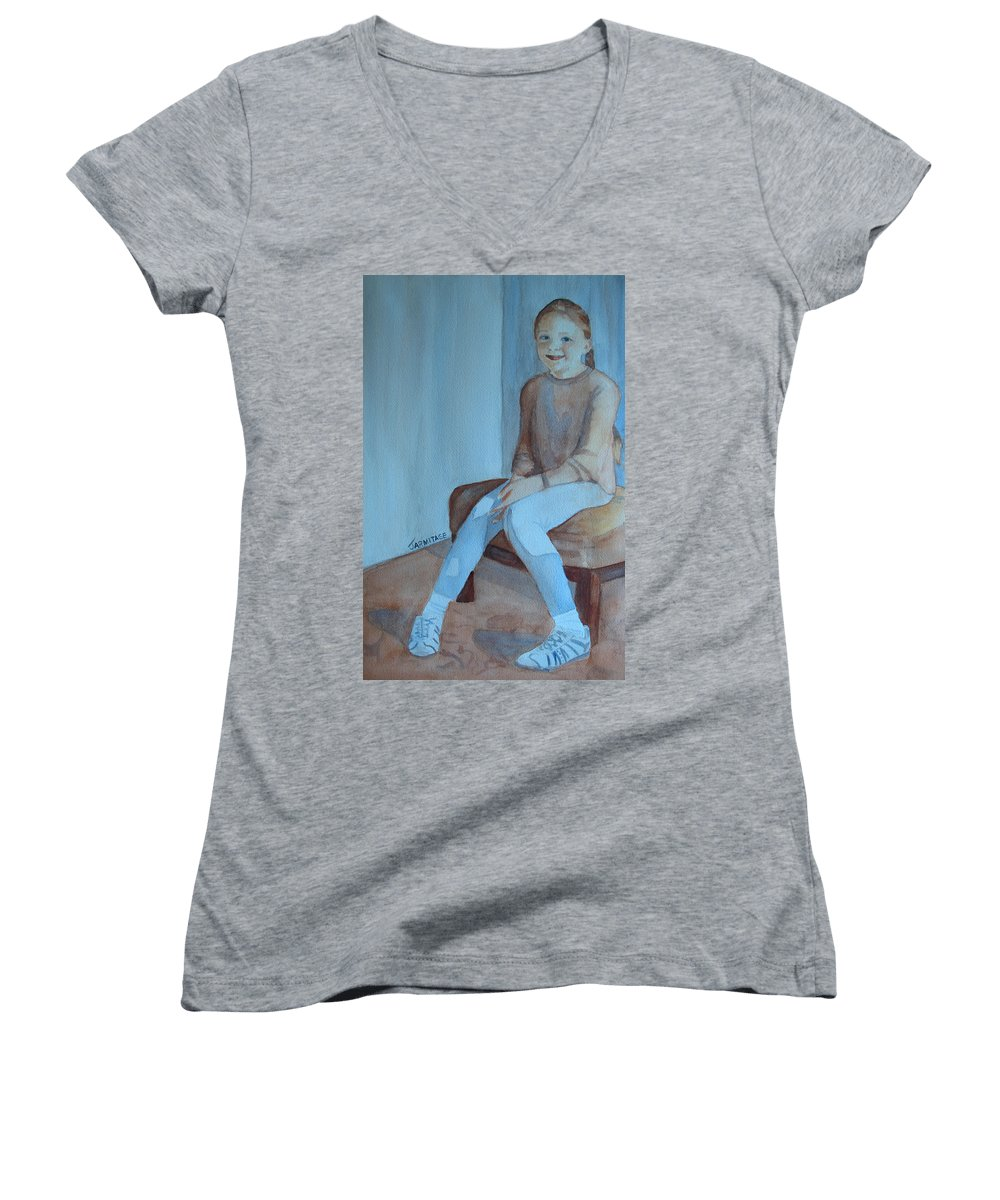 Girl Women's V-Neck T-Shirt featuring the painting Sneakers II by Jenny Armitage