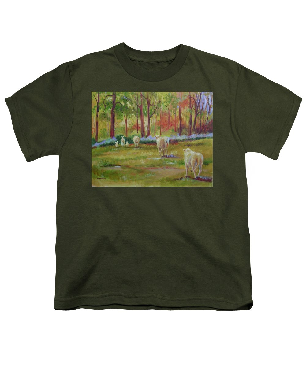 Sheep Youth T-Shirt featuring the painting Sheeple by Ginger Concepcion