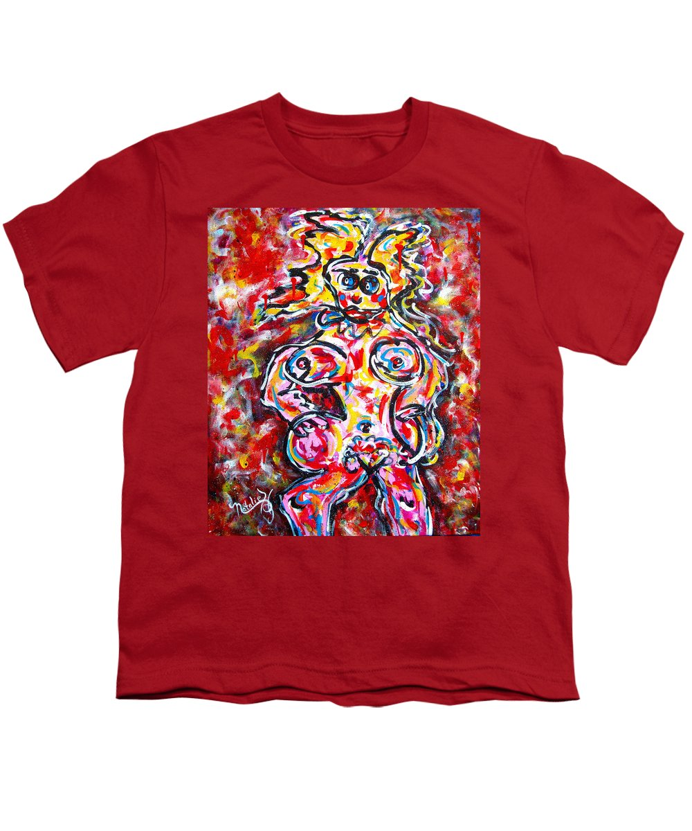 Abstracts Youth T-Shirt featuring the painting What Are You Looking At by Natalie Holland
