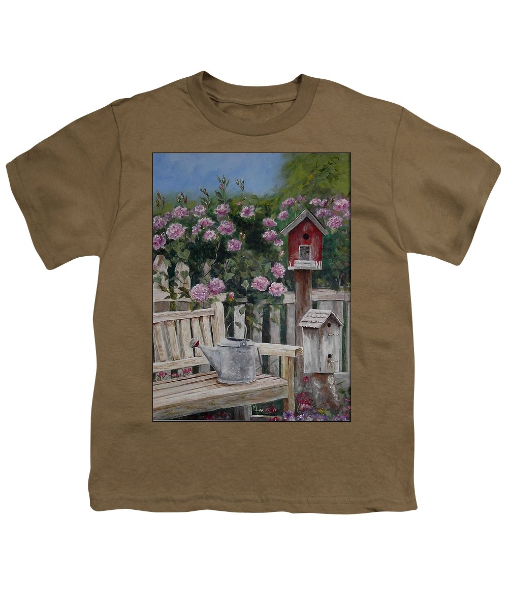 Charity Youth T-Shirt featuring the painting Take A Seat by Mary-Lee Sanders