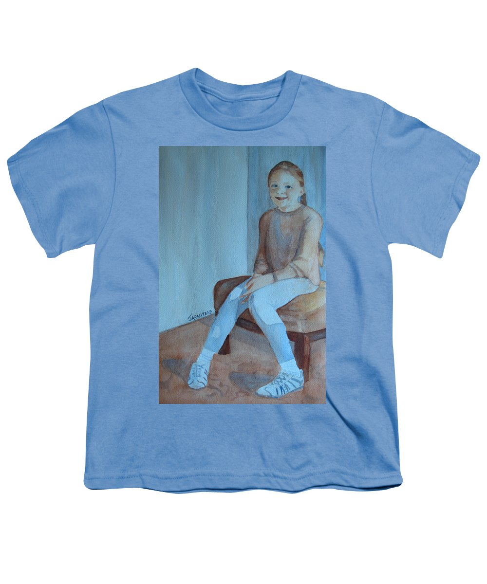 Girl Youth T-Shirt featuring the painting Sneakers II by Jenny Armitage
