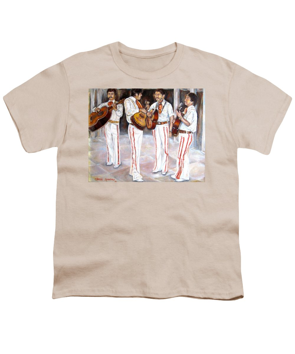 Mariachis Youth T-Shirt featuring the painting Mariachi Musicians by Carole Spandau