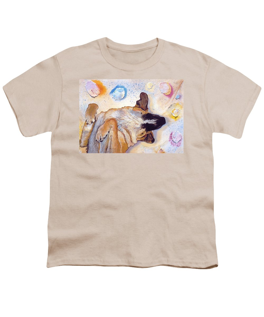 Sleeping Dog Youth T-Shirt featuring the painting Dog Dreams by Pat Saunders-White