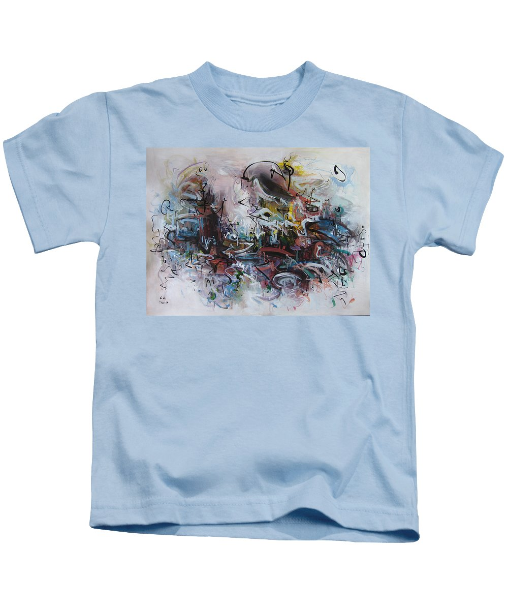Painting Kids T-Shirt featuring the painting Seascape206 by Seon-Jeong Kim