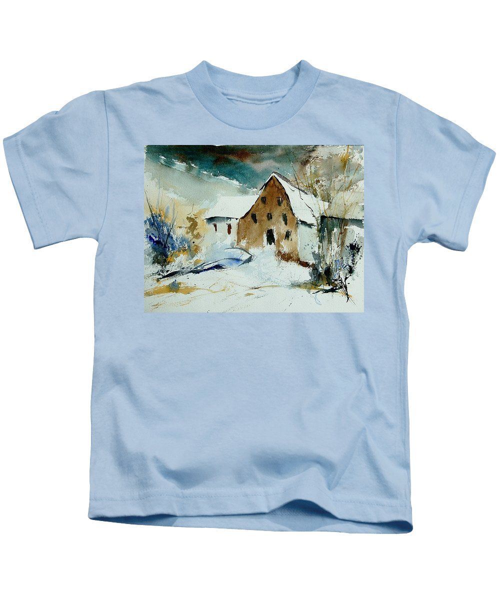 Winter Kids T-Shirt featuring the painting Watercolor 9696 by Pol Ledent