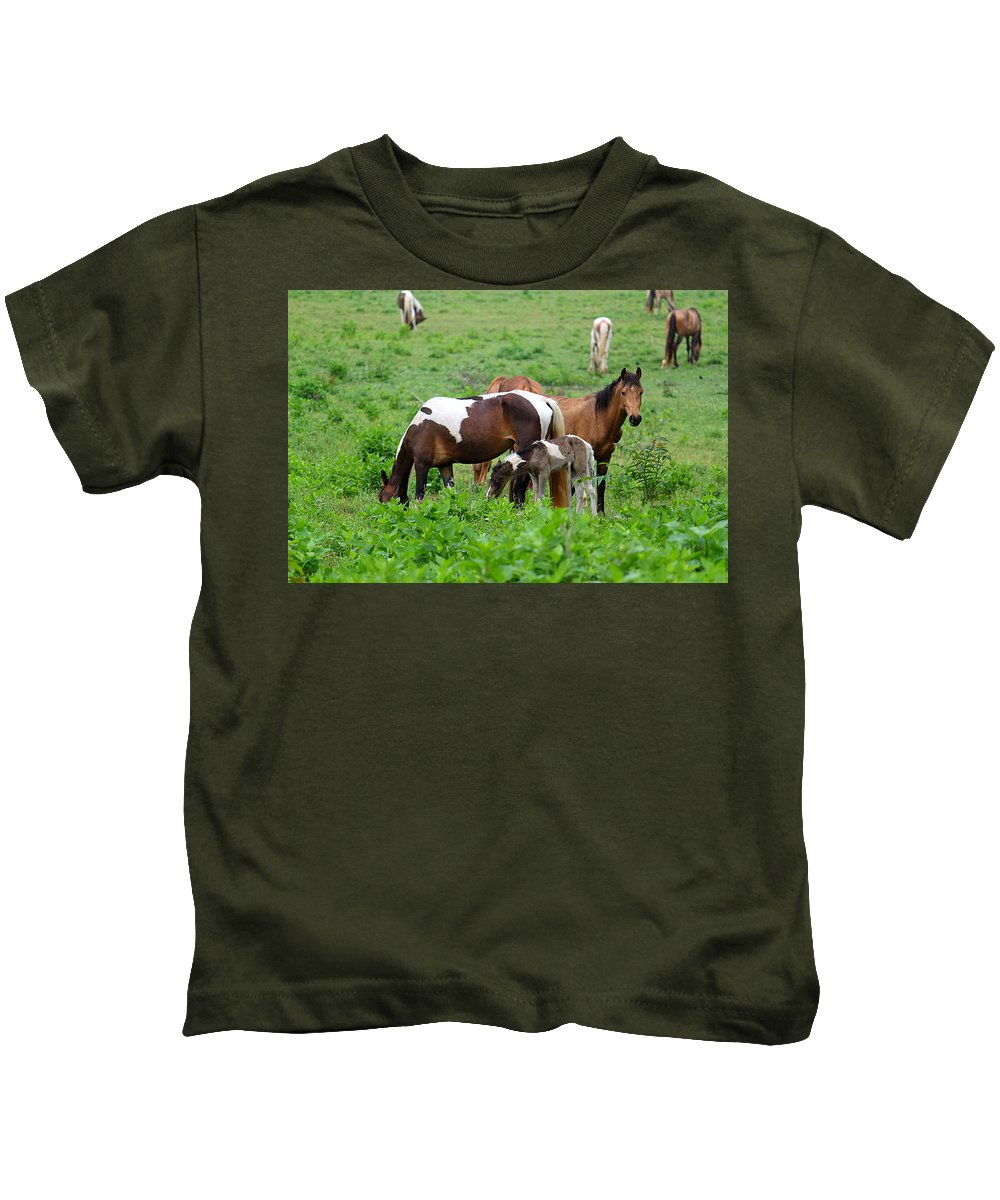 Horse Kids T-Shirt featuring the photograph Family Time by Carol Turner