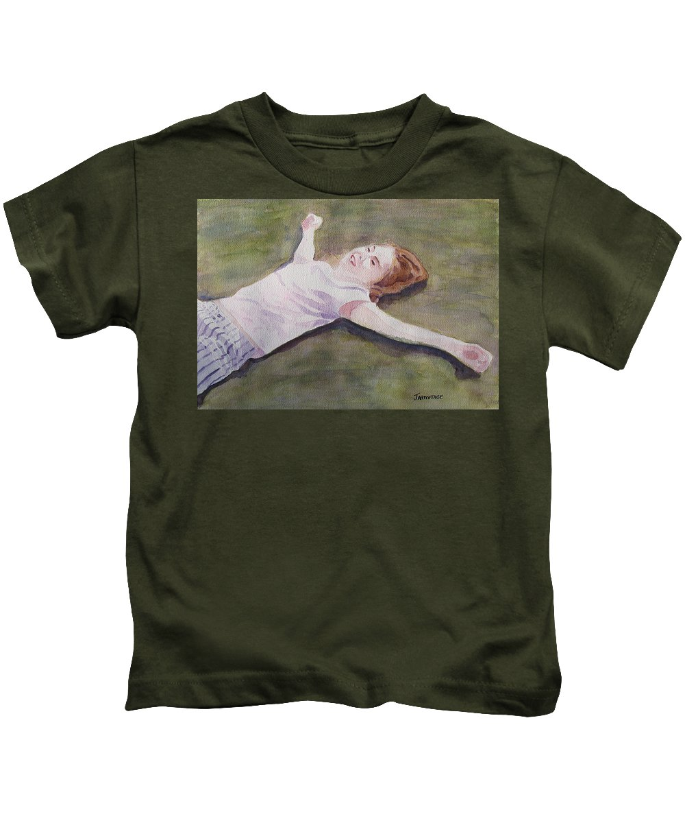 Girl Kids T-Shirt featuring the painting Floating On The Lawn by Jenny Armitage