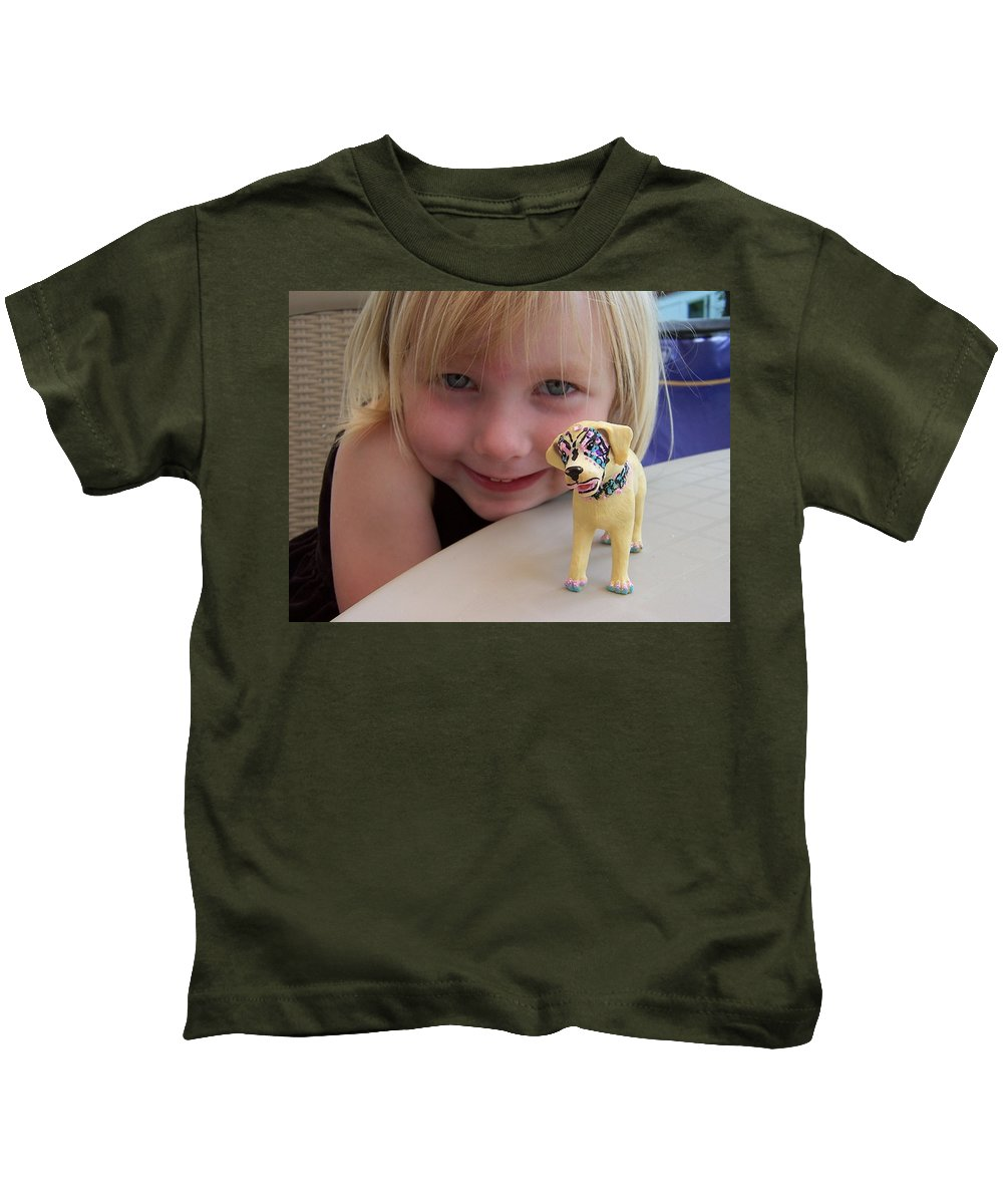 Kids Photo Kids T-Shirt featuring the painting Lacey's Face Painted Dog by Deahn   Benware