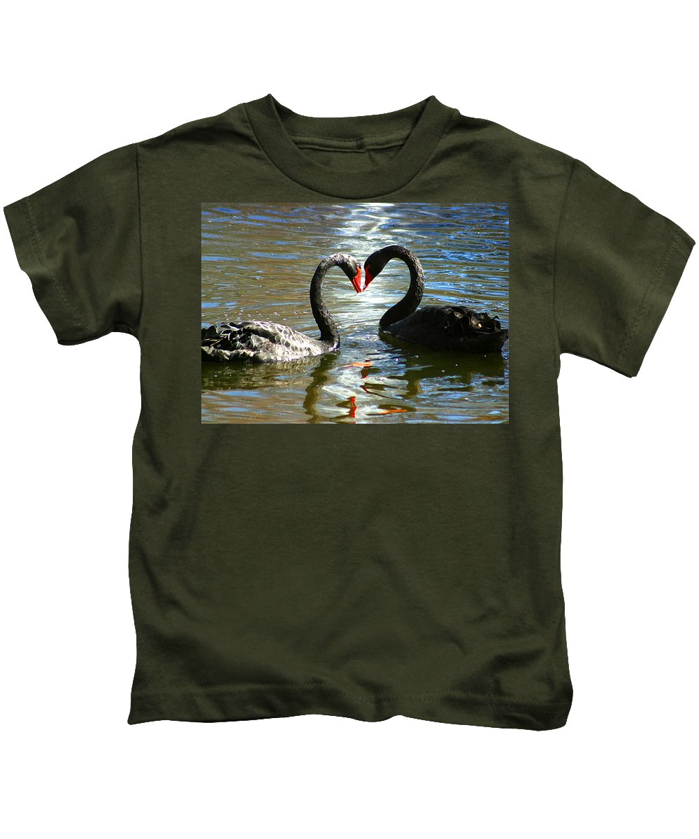Swan Kids T-Shirt featuring the digital art Swan Heart by Anthony Jones